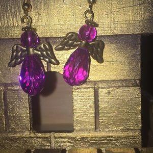 Handmade purple and gold earrings (3/$10)